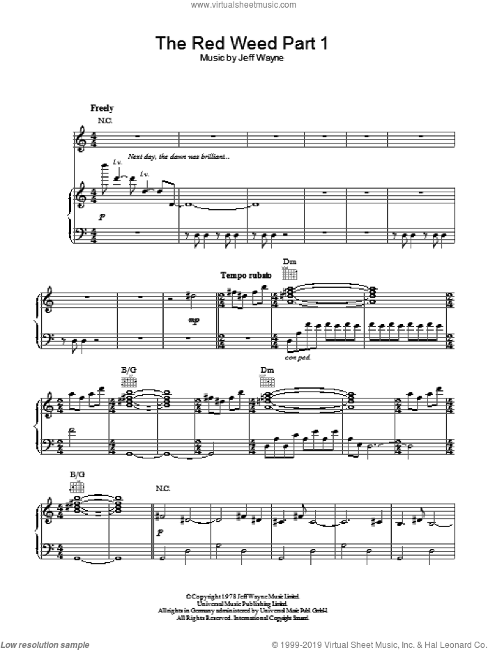 The Red Weed (Part 1) (from War Of The Worlds) sheet music for voice, piano or guitar by Jeff Wayne, intermediate skill level