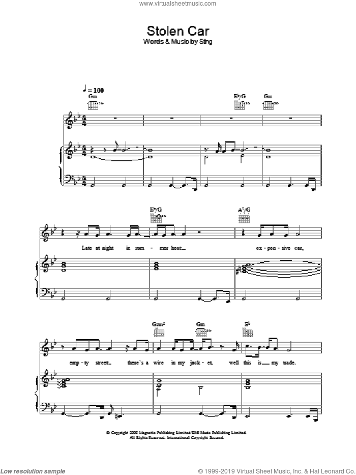 Stolen Car sheet music for voice, piano or guitar by Sting. Score Image Preview.