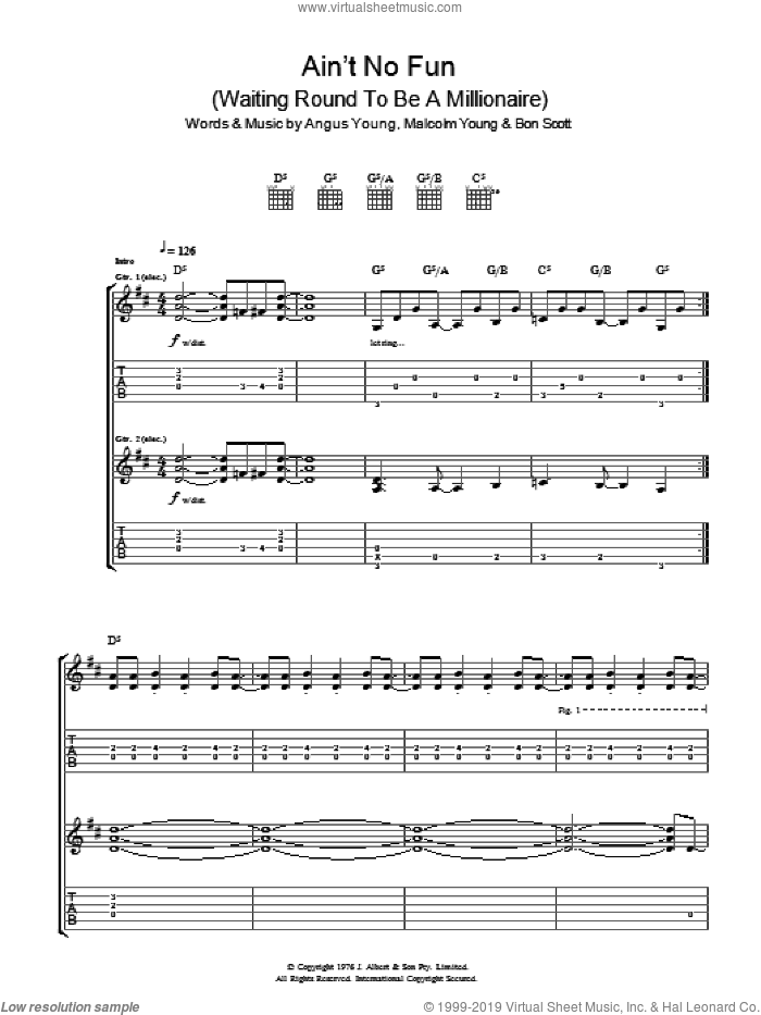 Ain't No Fun (Waiting Around To Be A Millionaire) sheet music for guitar (tablature) by AC/DC, Angus Young, Bon Scott and Malcolm Young, intermediate skill level