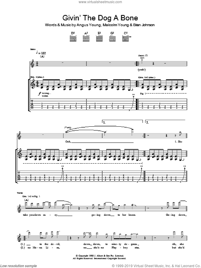 Givin' The Dog A Bone sheet music for guitar (tablature) by AC/DC and Brian Johnson, intermediate. Score Image Preview.