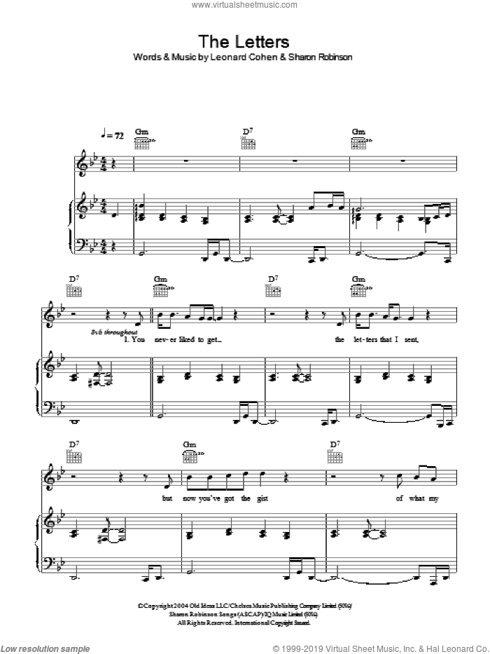The Letters sheet music for voice, piano or guitar by Leonard Cohen and Sharon Robinson, intermediate skill level