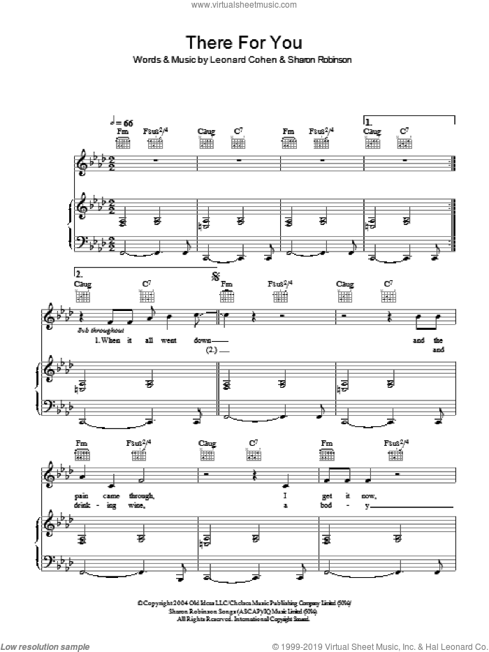 There For You sheet music for voice, piano or guitar by Sharon Robinson and Leonard Cohen