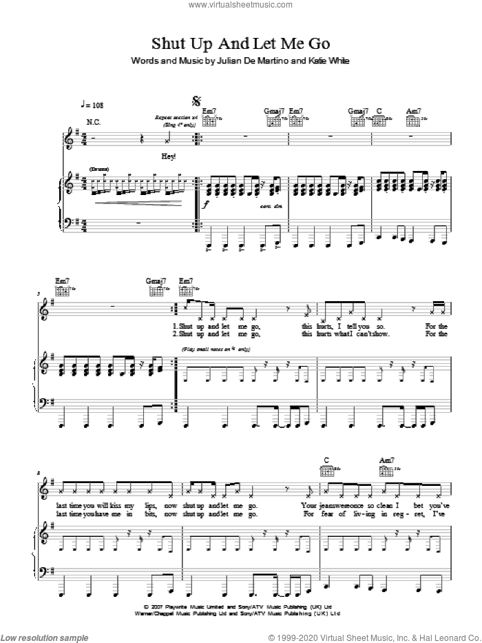Shut Up And Let Me Go sheet music for voice, piano or guitar by Jules De Martino and Katie White. Score Image Preview.