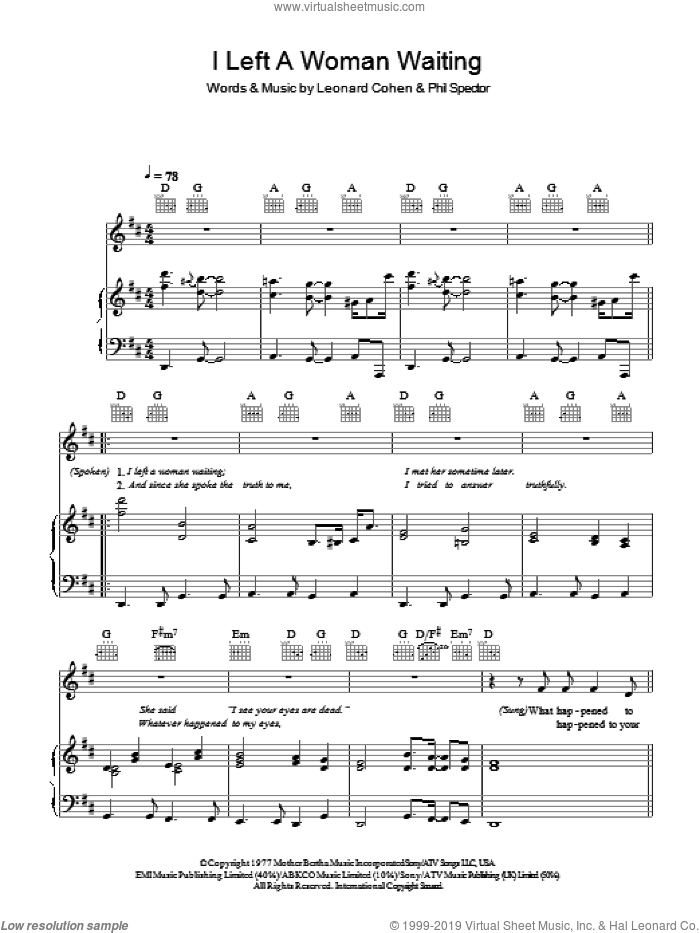 I Left A Woman Waiting sheet music for voice, piano or guitar by Leonard Cohen and Phil Spector, intermediate. Score Image Preview.