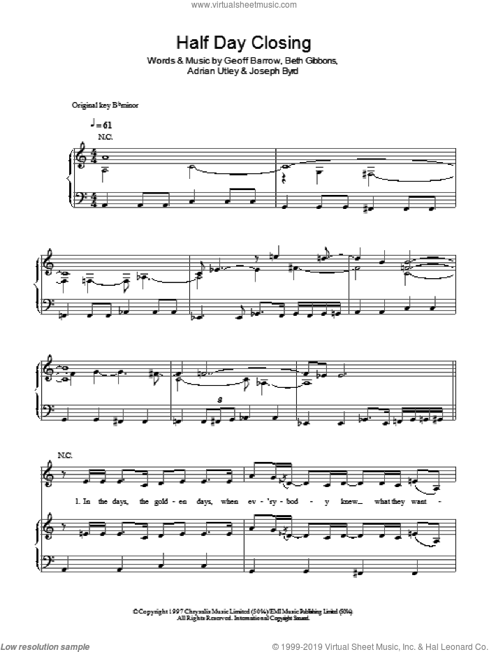 Half Day Closing sheet music for voice, piano or guitar by Portishead, Adrian Utley, Beth Gibbons, Geoff Barrow and Joseph Byrd, intermediate. Score Image Preview.