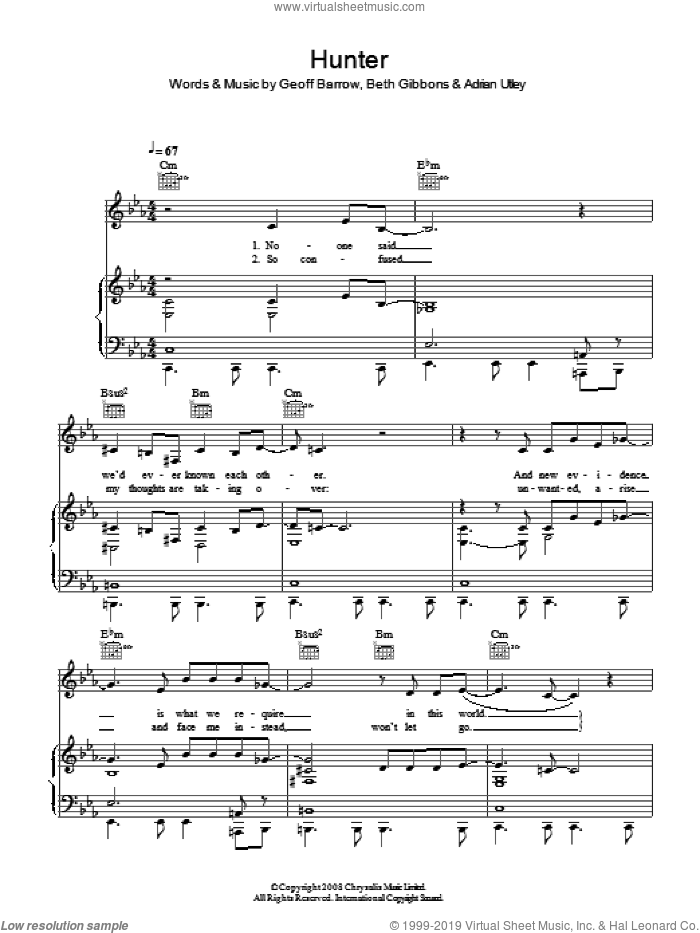 Hunter sheet music for voice, piano or guitar by Portishead, Adrian Utley, Beth Gibbons and Geoff Barrow, intermediate skill level
