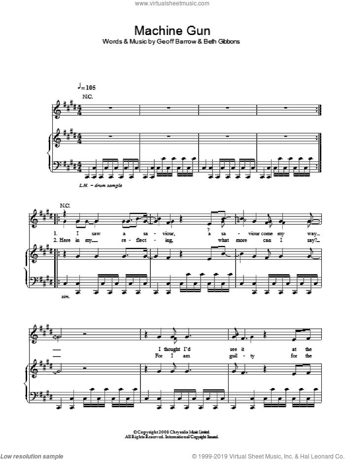 Machine Gun sheet music for voice, piano or guitar by Portishead, Beth Gibbons and Geoff Barrow, intermediate skill level