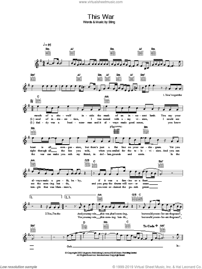 This War sheet music for voice and other instruments (fake book) by Sting, intermediate. Score Image Preview.