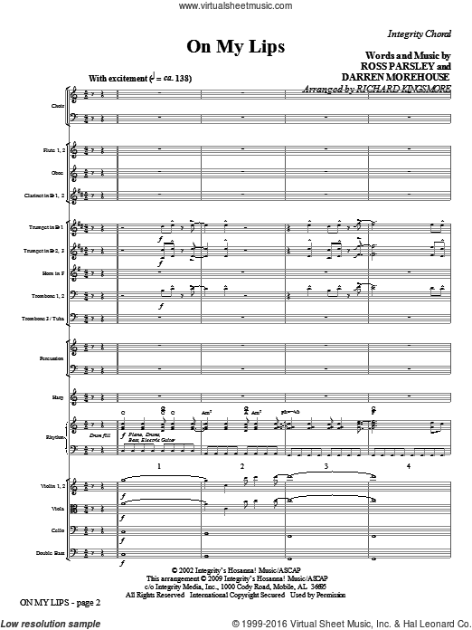 On My Lips (COMPLETE) sheet music for orchestra by Richard Kingsmore. Score Image Preview.