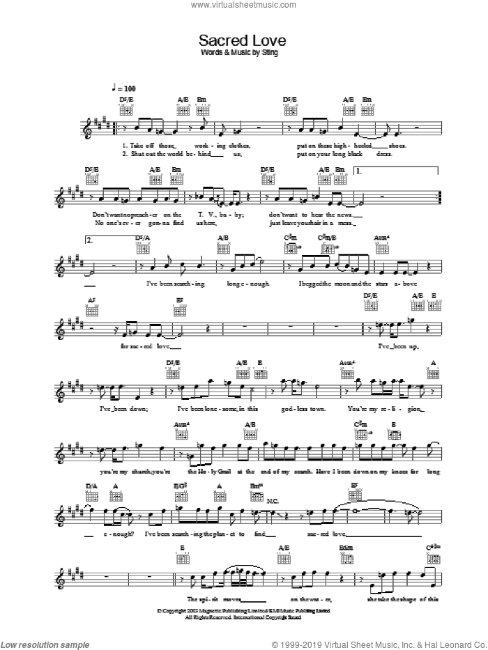 Sacred Love sheet music for voice and other instruments (fake book) by Sting, intermediate voice. Score Image Preview.