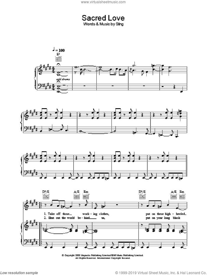 Sacred Love sheet music for voice, piano or guitar by Sting. Score Image Preview.