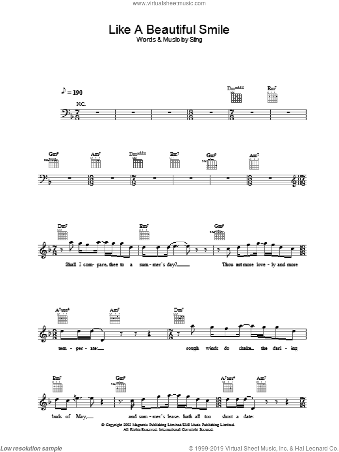 Like A Beautiful Smile sheet music for voice and other instruments (fake book) by Sting, intermediate