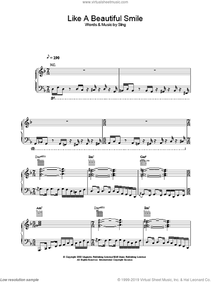 Like A Beautiful Smile sheet music for voice, piano or guitar by Sting, intermediate skill level