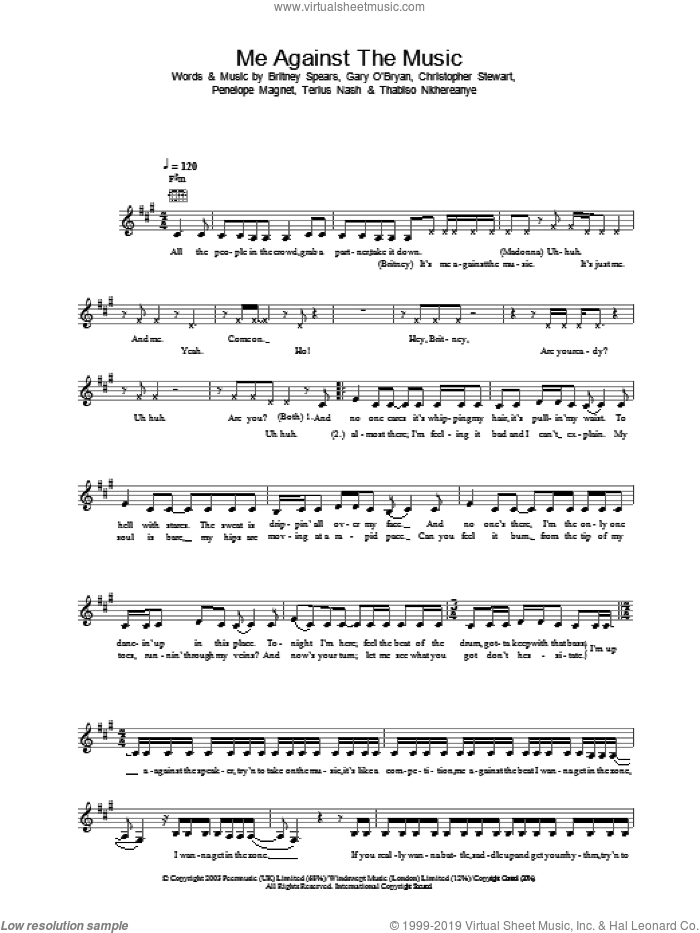 Me Against The Music sheet music for voice and other instruments (fake book) by Britney Spears, intermediate