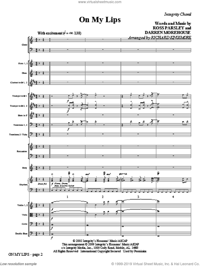 On My Lips (COMPLETE) sheet music for orchestra/band (Orchestra) by Richard Kingsmore, Darren Morehouse and Ross Parsley, intermediate. Score Image Preview.