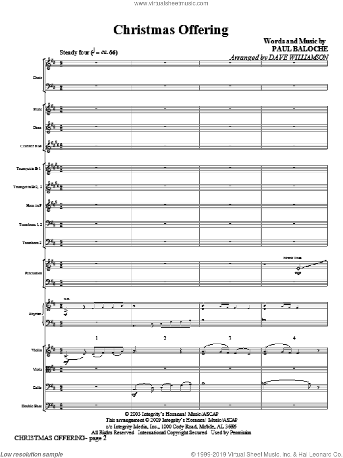 Christmas Offering (COMPLETE) sheet music for orchestra/band (Orchestra) by Paul Baloche and Dave Williamson, intermediate skill level