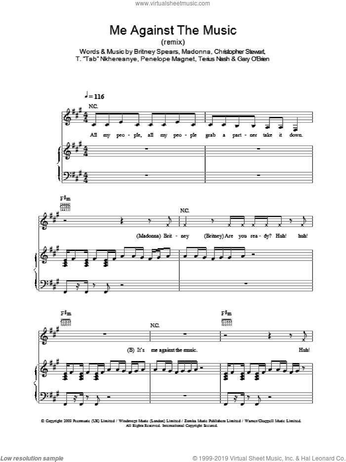 Me Against The Music (remix) sheet music for voice, piano or guitar by Britney Spears and Madonna, intermediate. Score Image Preview.