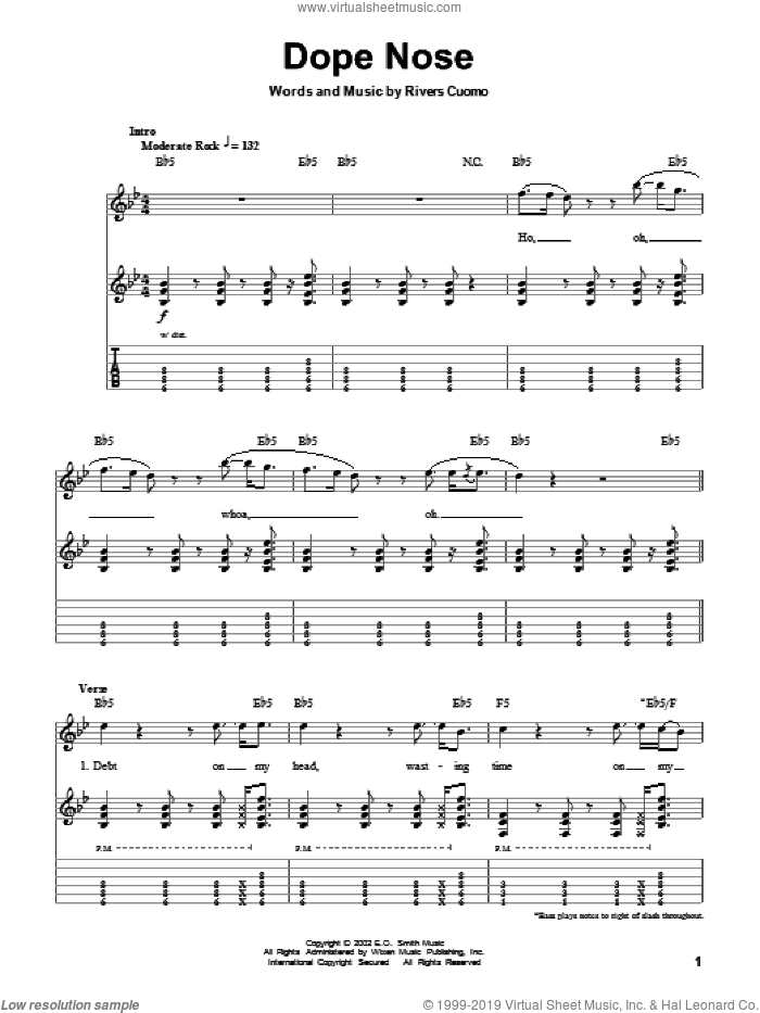 Dope Nose sheet music for guitar (tablature, play-along) by Weezer and Rivers Cuomo, intermediate skill level