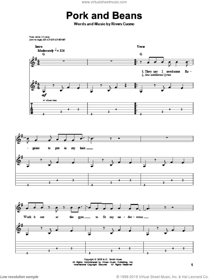 Pork And Beans sheet music for guitar (tablature, play-along) by Rivers Cuomo and Weezer. Score Image Preview.