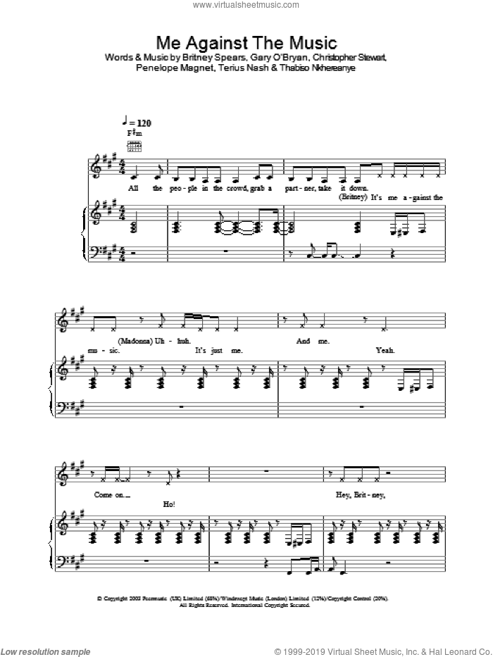 Me Against The Music sheet music for voice, piano or guitar by Britney Spears and Madonna. Score Image Preview.