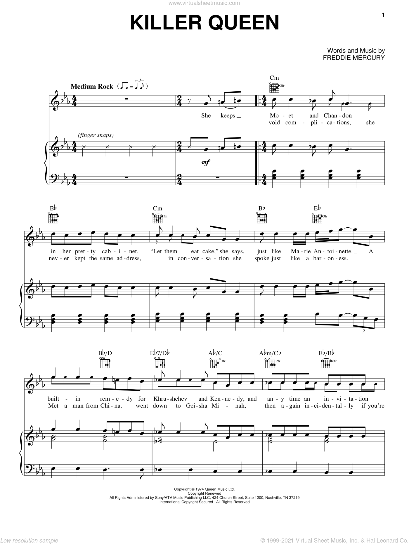 Killer Queen sheet music for voice, piano or guitar by Queen and Freddie Mercury, intermediate skill level