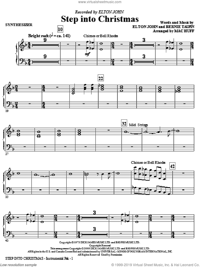 Step Into Christmas (complete set of parts) sheet music for orchestra/band (Rhythm) by Elton John, Bernie Taupin and Mac Huff, intermediate. Score Image Preview.
