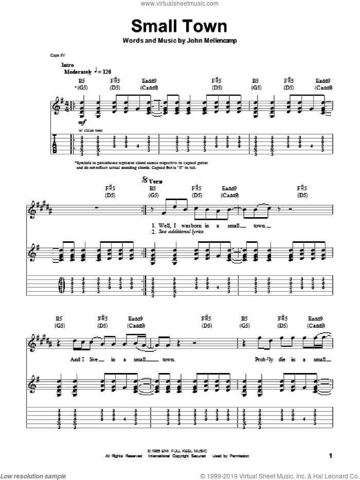 Small Town sheet music for guitar (tablature, play-along) by John Mellencamp