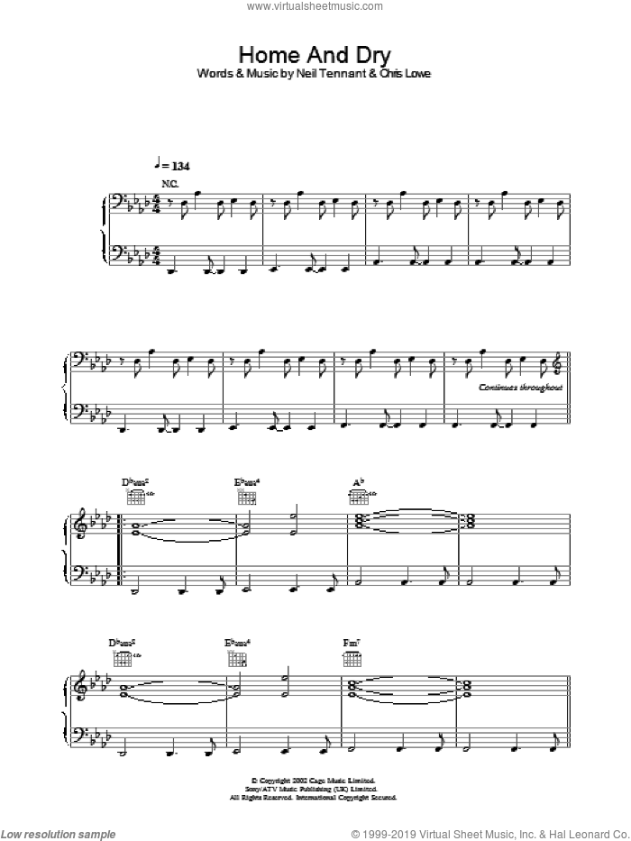 Home And Dry sheet music for voice, piano or guitar by The Pet Shop Boys. Score Image Preview.