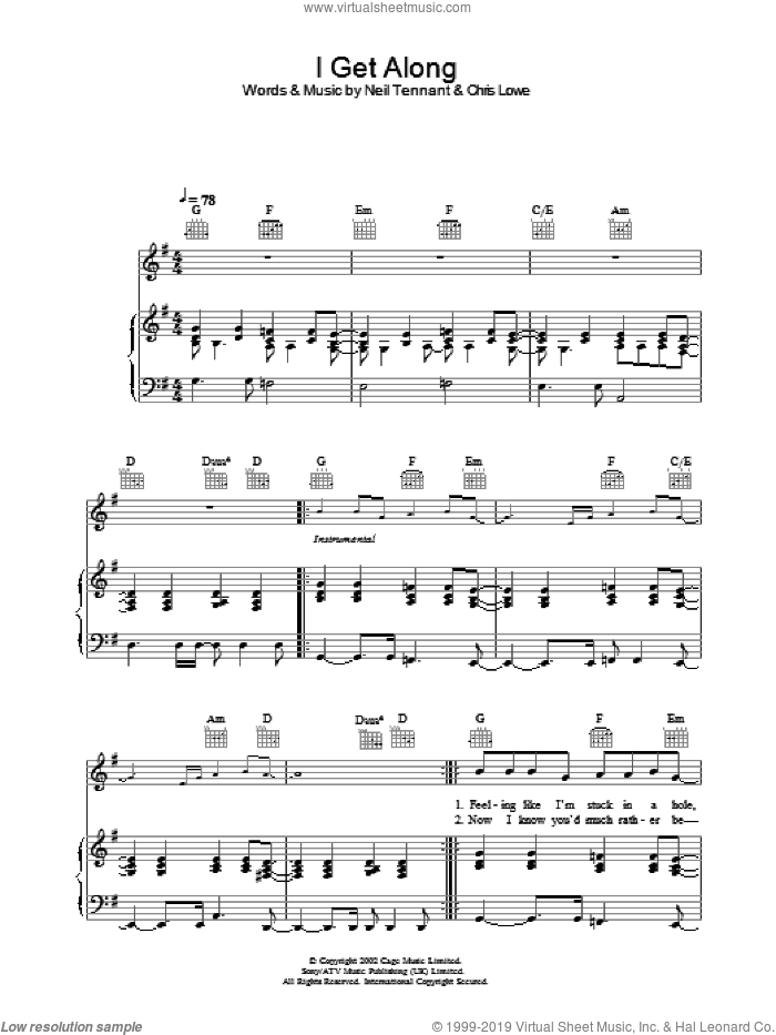 I Get Along sheet music for voice, piano or guitar by The Pet Shop Boys, intermediate skill level