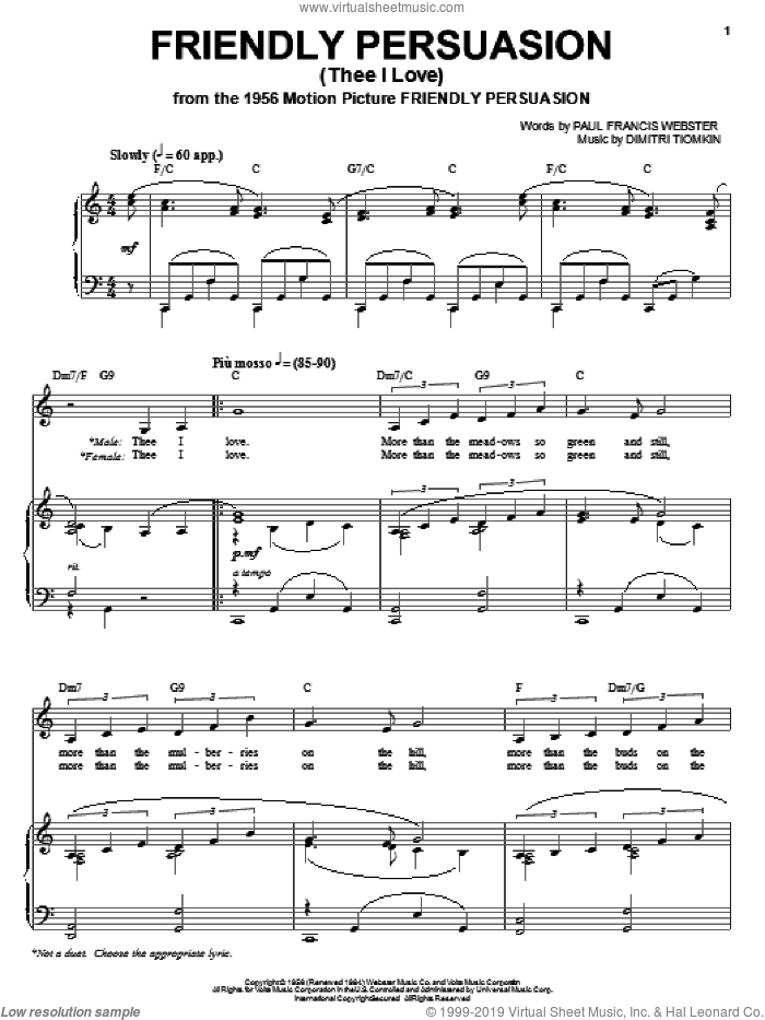 Friendly Persuasion sheet music for voice, piano or guitar by Pat Boone, Dimitri Tiomkin and Paul Francis Webster, intermediate skill level
