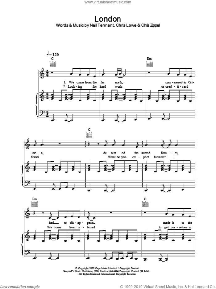 London sheet music for voice, piano or guitar by The Pet Shop Boys, intermediate. Score Image Preview.