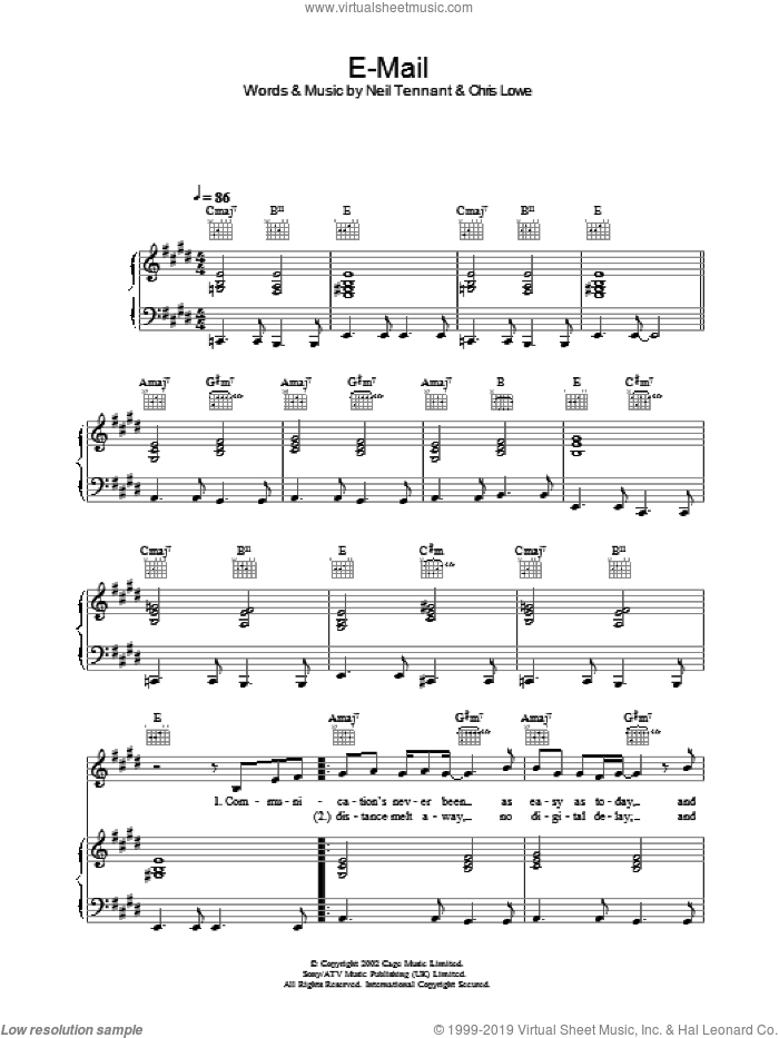 E-Mail sheet music for voice, piano or guitar by The Pet Shop Boys. Score Image Preview.