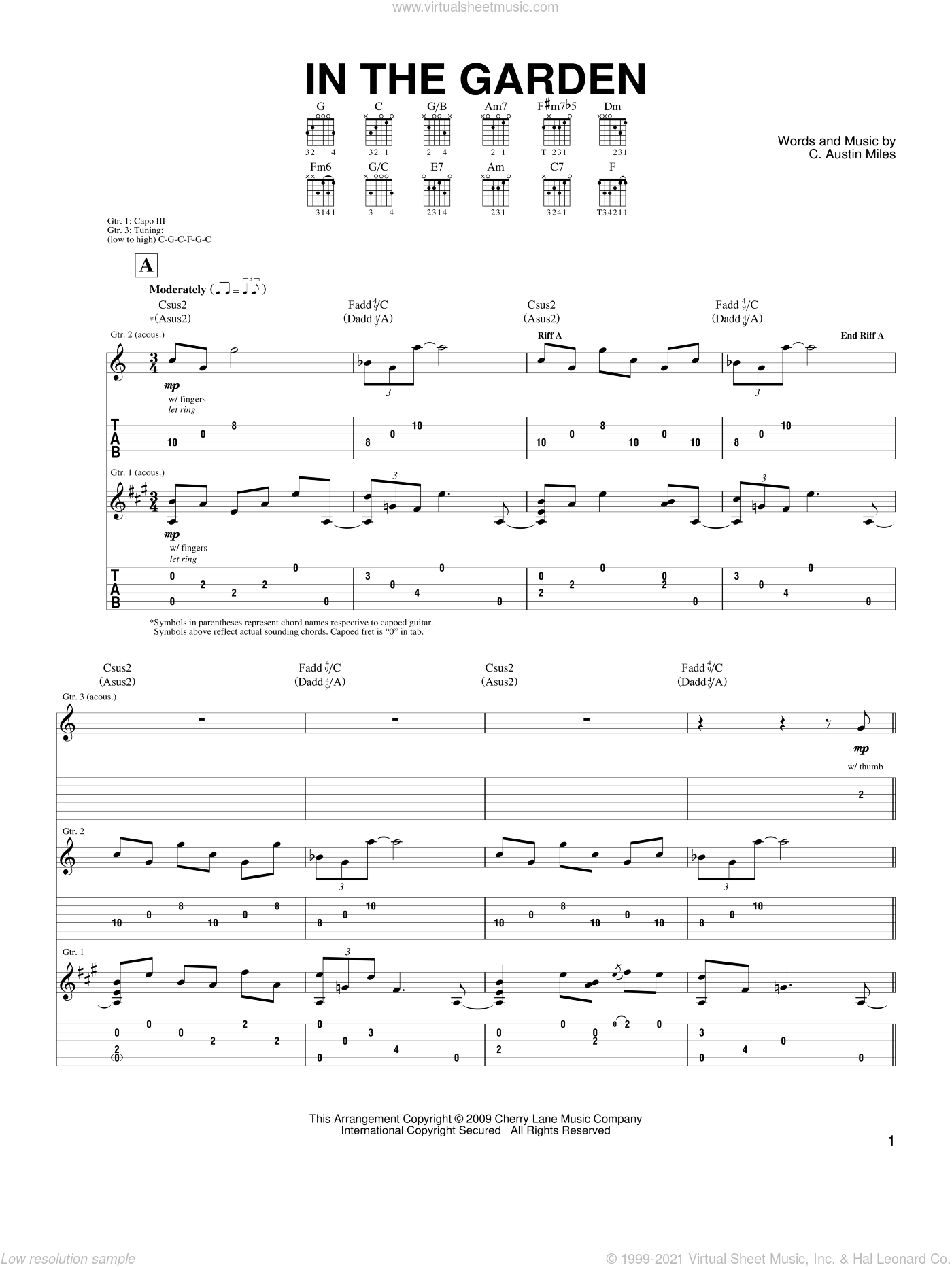 In The Garden sheet music for guitar (tablature) by Steve Hunter and C. Austin Miles, intermediate skill level