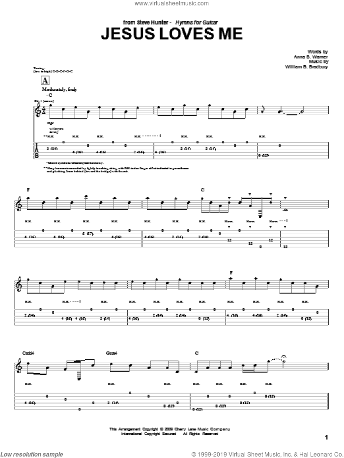 Jesus Loves Me sheet music for guitar (tablature) by Steve Hunter, Anna B. Warner and William B. Bradbury, intermediate