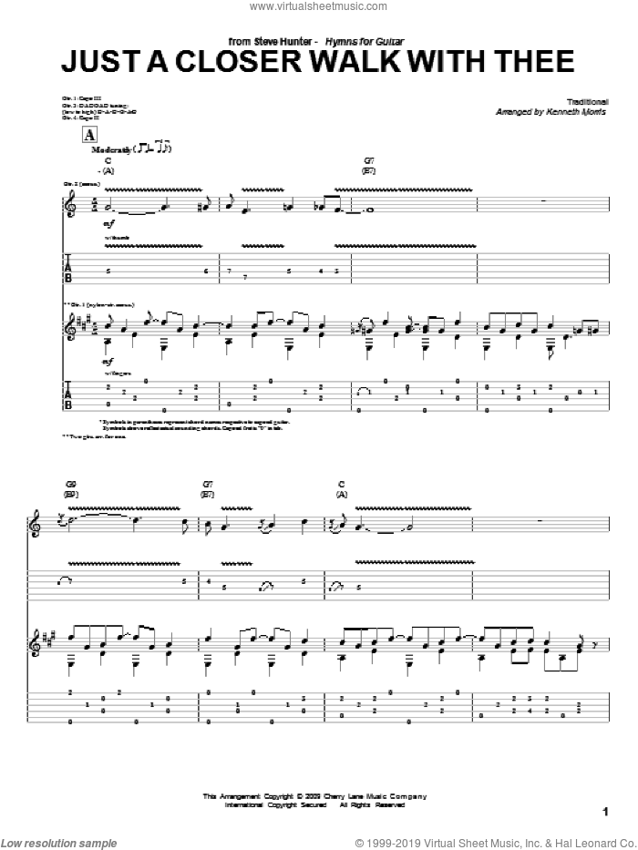 Just A Closer Walk With Thee sheet music for guitar (tablature) by Steve Hunter, Kenneth Morris and Miscellaneous. Score Image Preview.