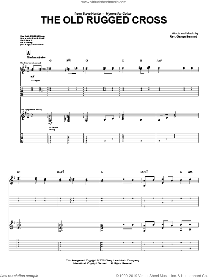 The Old Rugged Cross sheet music for guitar (tablature) by Steve Hunter and Rev. George Bennard, intermediate skill level