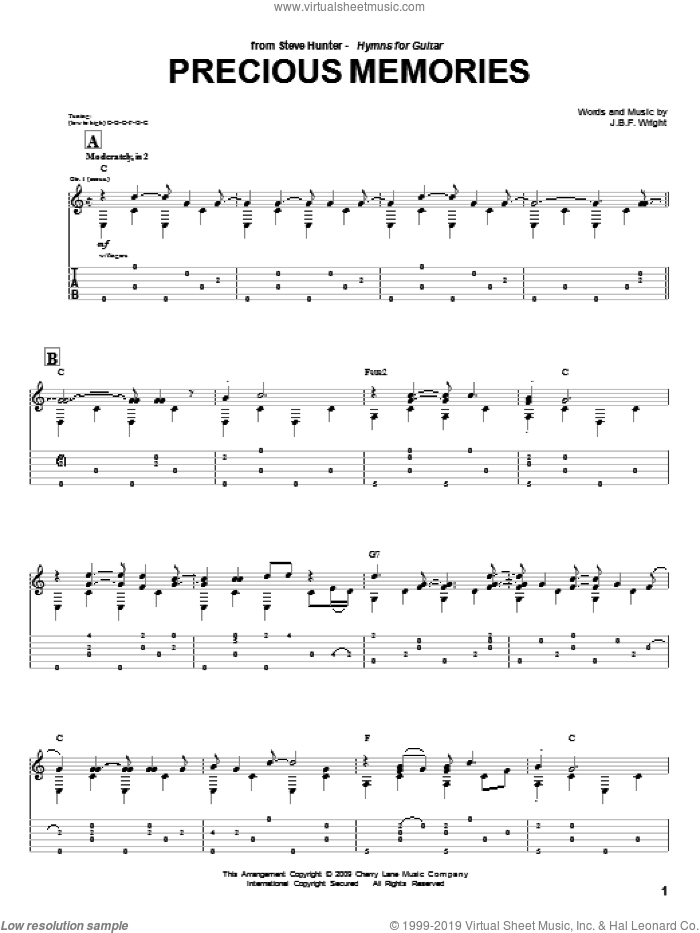 Precious Memories sheet music for guitar (tablature) by Steve Hunter and J.B.F. Wright, intermediate skill level