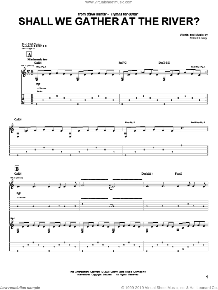 Shall We Gather At The River? sheet music for guitar (tablature) by Steve Hunter and Robert Lowry, intermediate skill level
