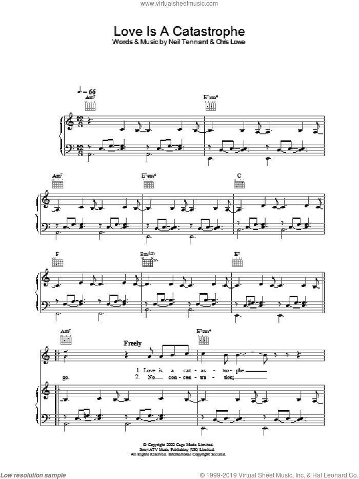 Love Is A Catastrophe sheet music for voice, piano or guitar by The Pet Shop Boys. Score Image Preview.