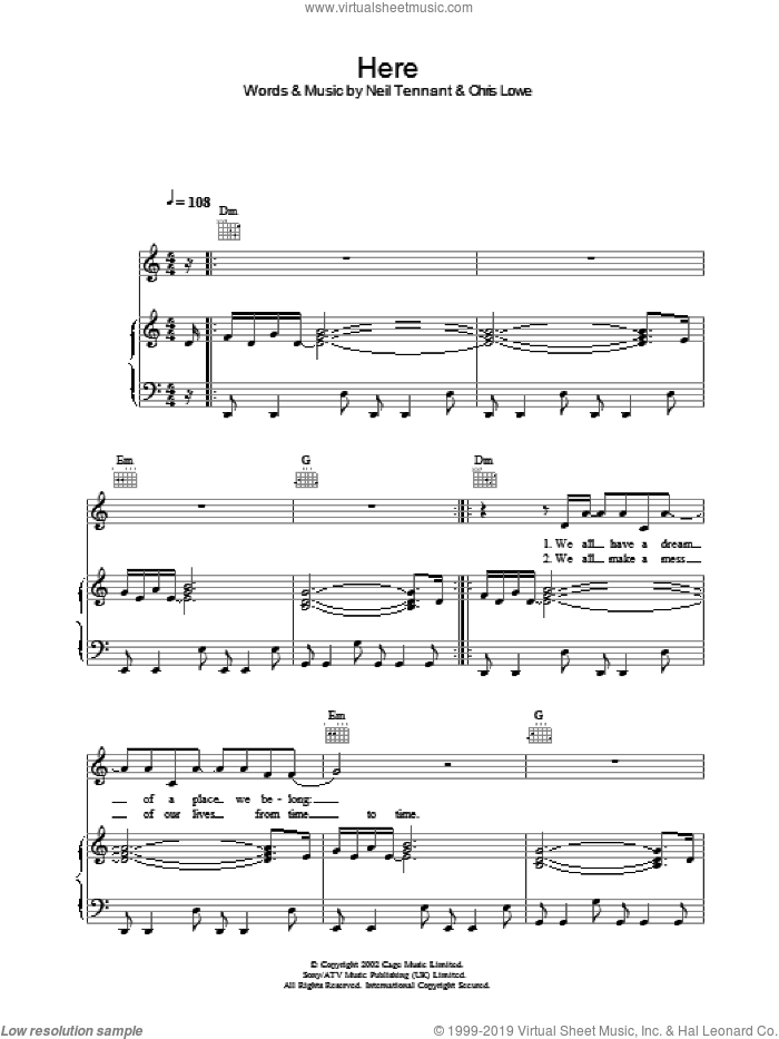 Here sheet music for voice, piano or guitar by The Pet Shop Boys, intermediate voice, piano or guitar. Score Image Preview.