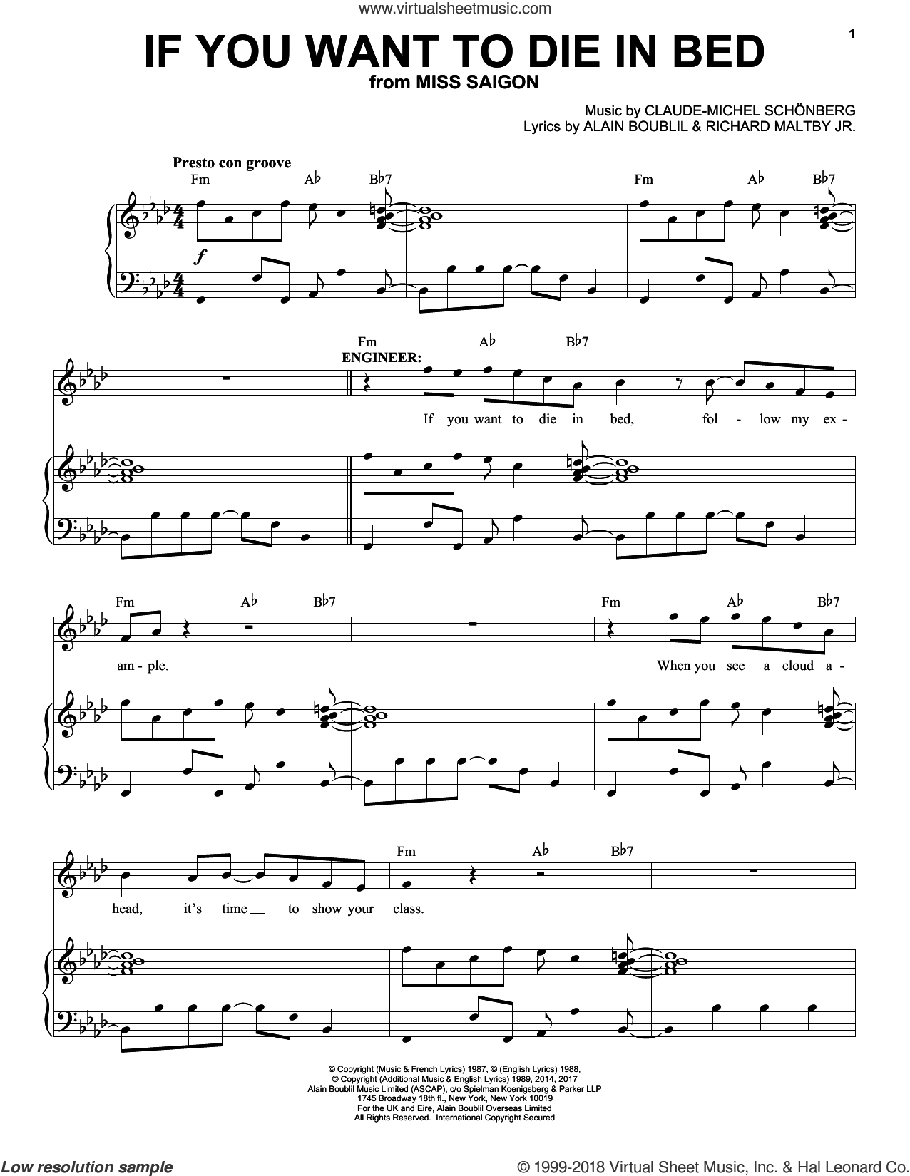 If You Want To Die In Bed sheet music for voice and piano by Claude-Michel Schonberg, Miss Saigon (Musical), Alain Boublil, Michel LeGrand and Richard Maltby, Jr., intermediate skill level