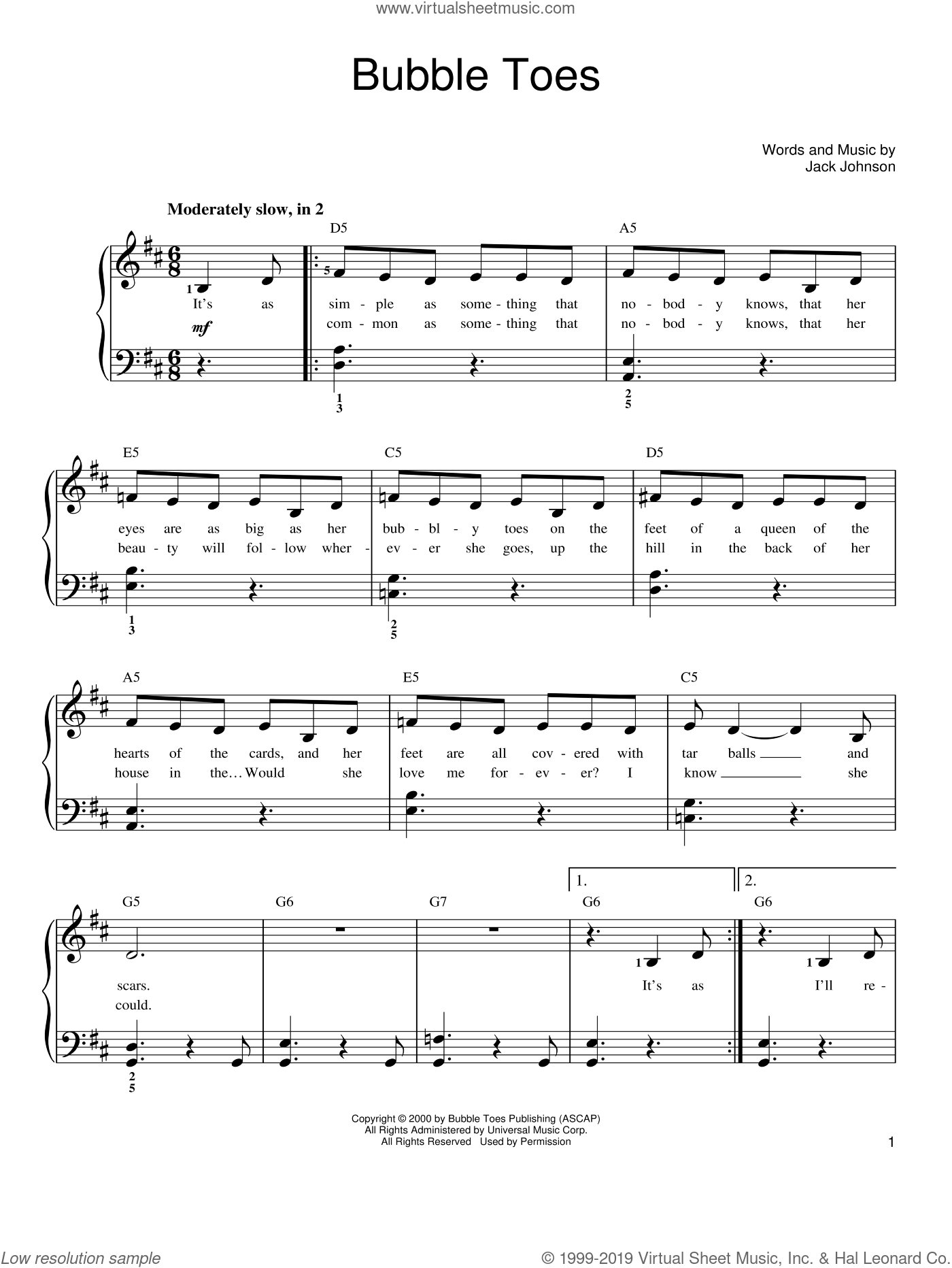 Bubble Toes sheet music for piano solo by Jack Johnson. Score Image Preview.