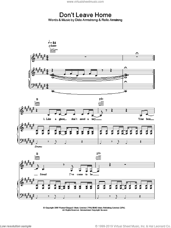 Don't Leave Home sheet music for voice, piano or guitar by Dido Armstrong, intermediate voice, piano or guitar. Score Image Preview.