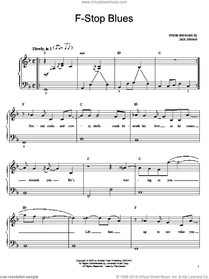 F-Stop Blues sheet music for piano solo by Jack Johnson, easy skill level