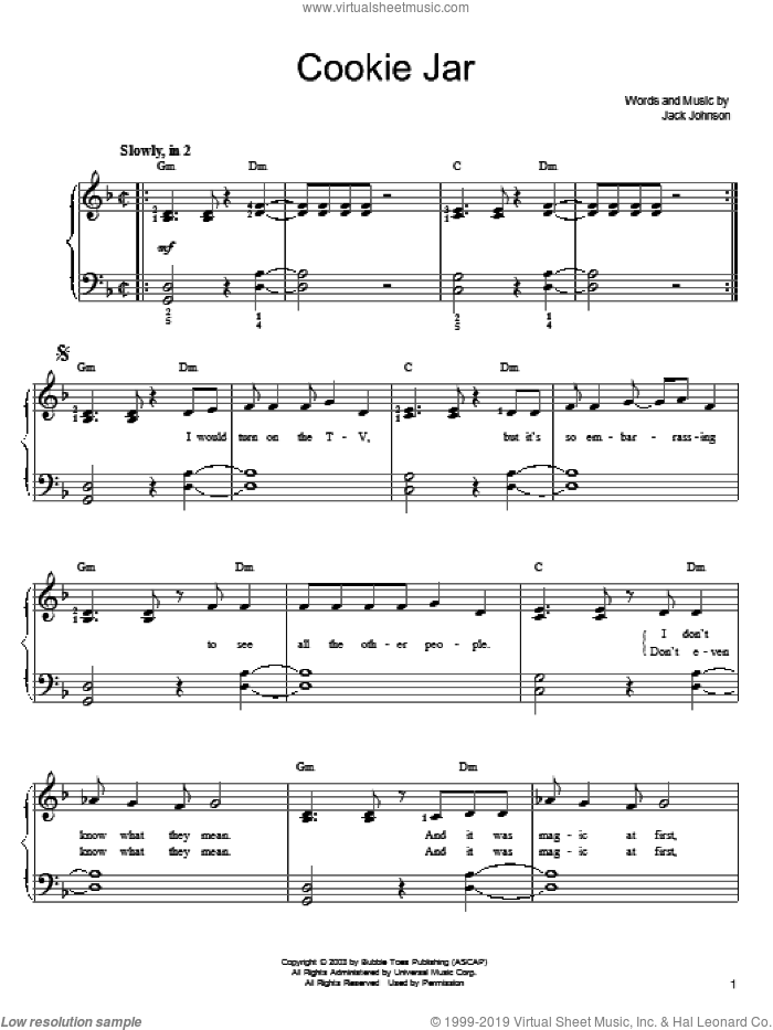 Cookie Jar sheet music for piano solo by Jack Johnson, easy
