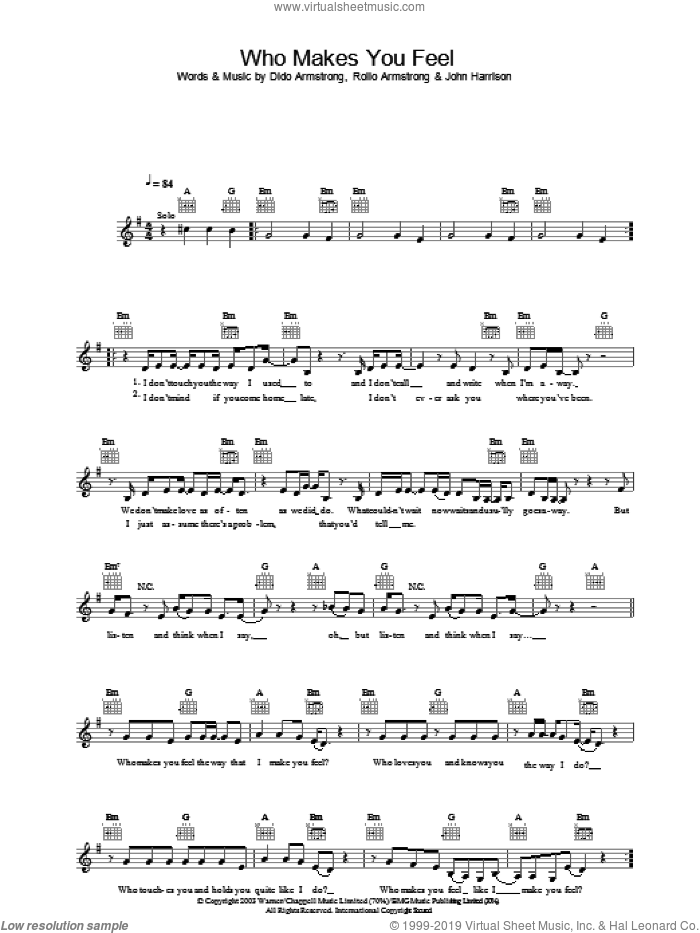 Who Makes You Feel sheet music for voice, piano or guitar by Dido Armstrong, intermediate voice, piano or guitar. Score Image Preview.