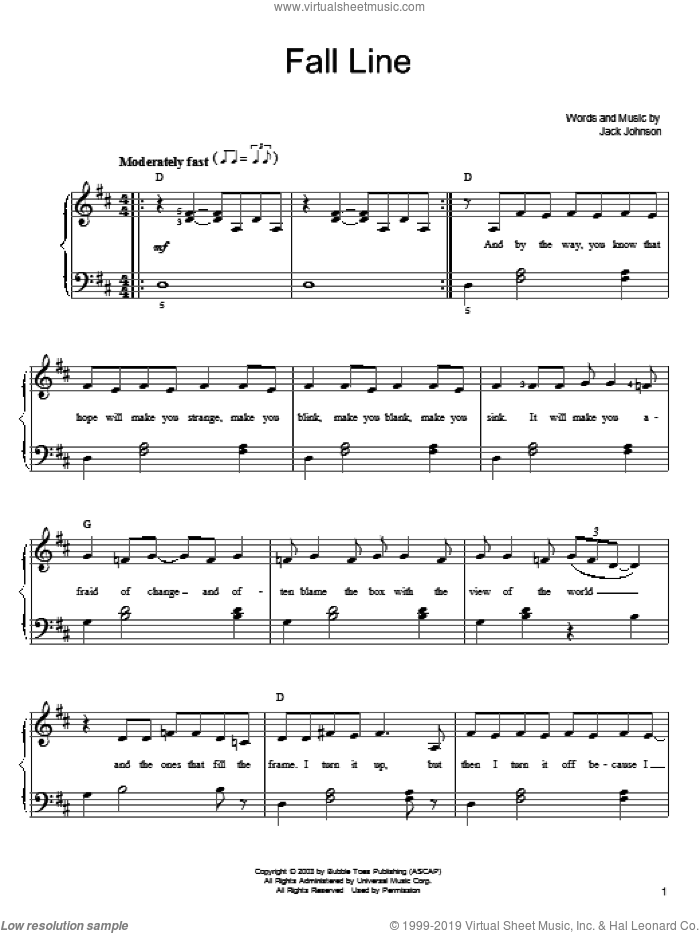 Fall Line sheet music for piano solo by Jack Johnson, easy skill level