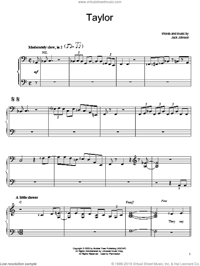 Taylor sheet music for piano solo by Jack Johnson, easy skill level