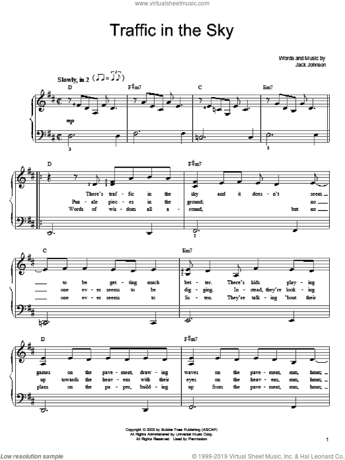 Traffic In The Sky sheet music for piano solo by Jack Johnson, easy skill level