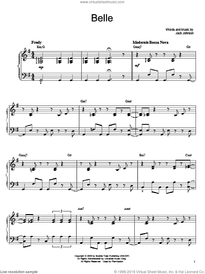 Belle sheet music for piano solo by Jack Johnson, easy skill level